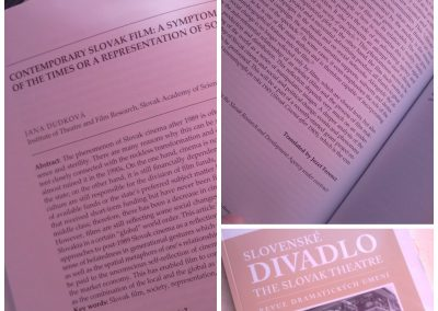 "Cooperation with the Slovak Academy of Sciences on the publication: ""Slovak Theatre: Review of drama arts."