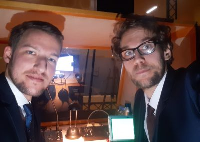 Together with my colleague we were interpreting behind a cinema screen.